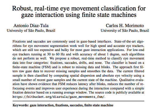 Robust, real-time eye movement classification for gaze interaction using finite state machines